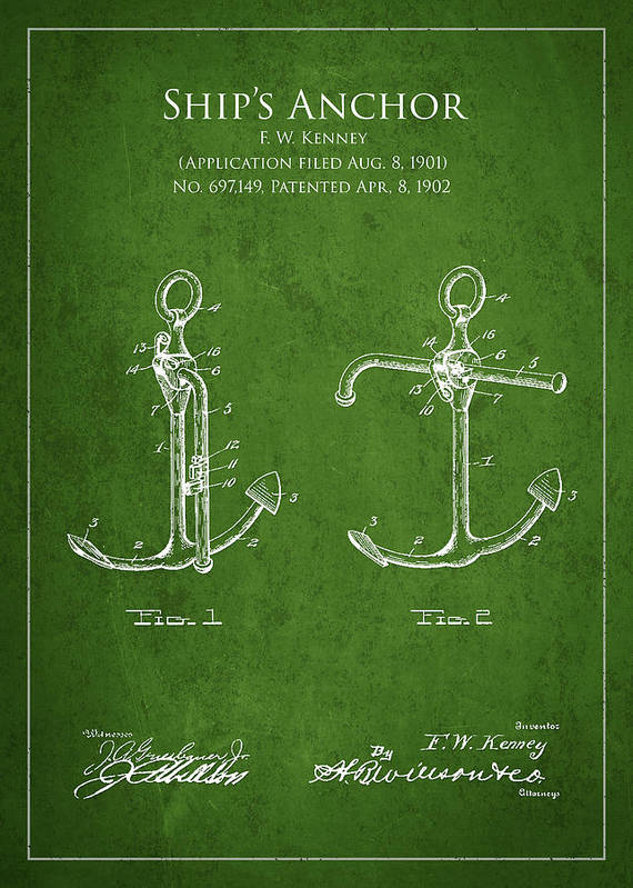 Anchor Poster featuring the drawing Vintage Anchor Patent Drawing From 1902 by Aged Pixel
