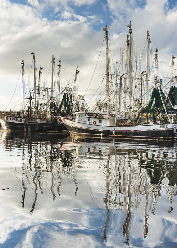 Alabama Poster featuring the photograph Bayou Labatre' Al Shrimp Boat Reflections by Jay Blackburn