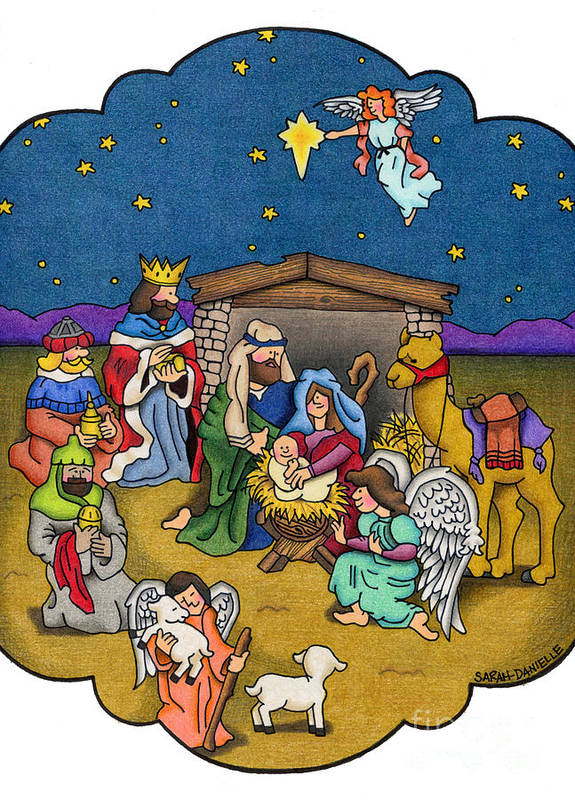 Angels Poster featuring the painting A Nativity Scene by Sarah Batalka