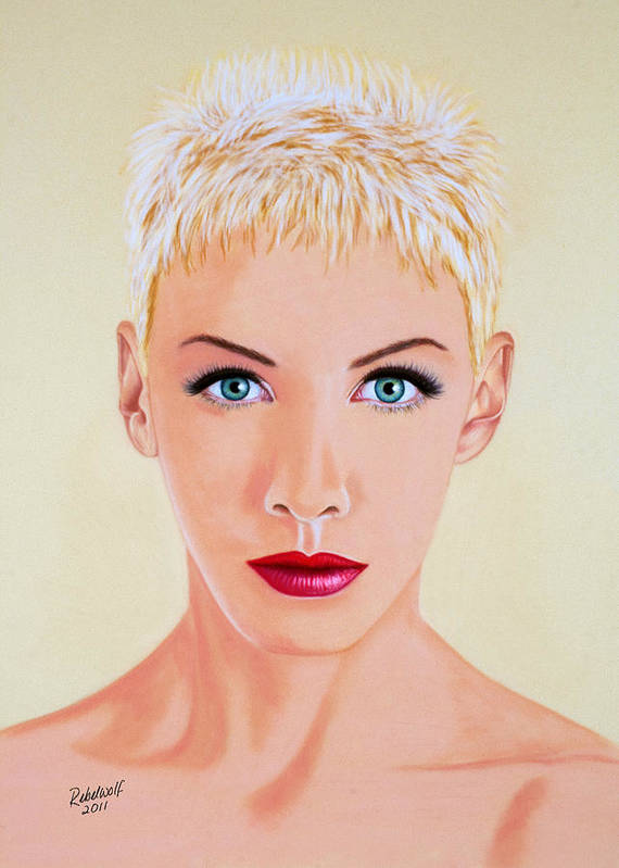 Annie Lennox Poster featuring the pastel Annie by Rebelwolf