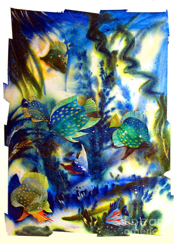 Aquarium Poster featuring the painting Aquarium Archived Work by Charlie Spear