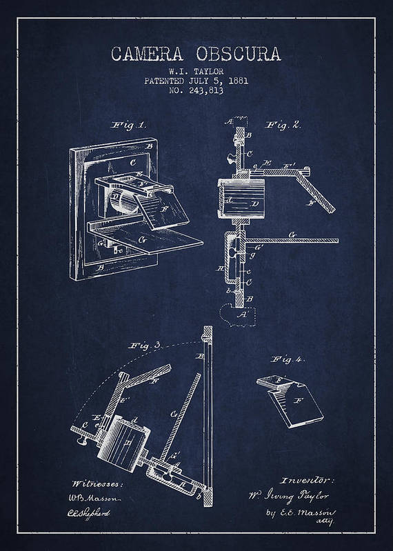 Camera Poster featuring the drawing Camera Obscura Patent Drawing From 1881 by Aged Pixel