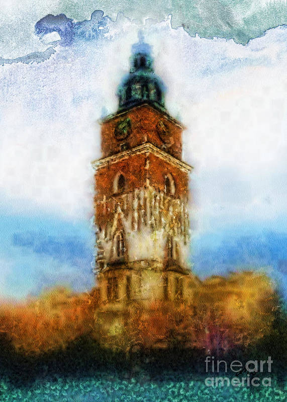 Cracov City Hall Poster featuring the painting Cracov City Hall by Mo T