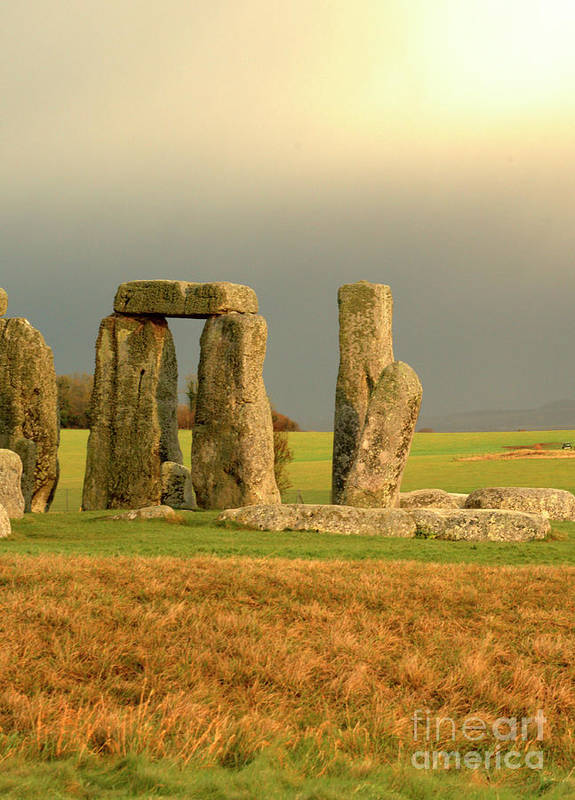 England Poster featuring the photograph Eerie Stonehenge 3 by Deborah Smolinske