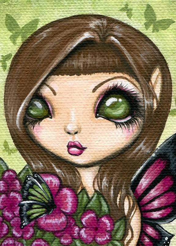 Fantasy Art Poster featuring the painting Floewer Fairy Fleur by Elaina Wagner