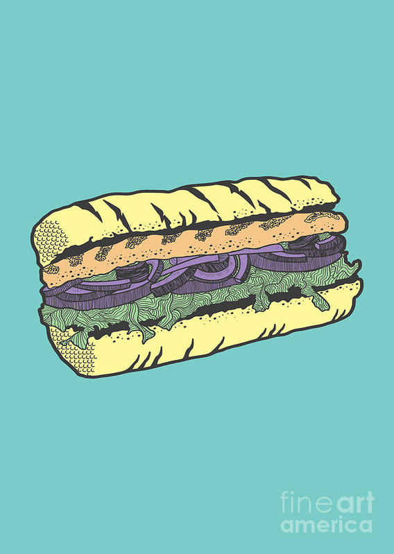 Sandwich Poster featuring the drawing Food Masquerade by Freshinkstain