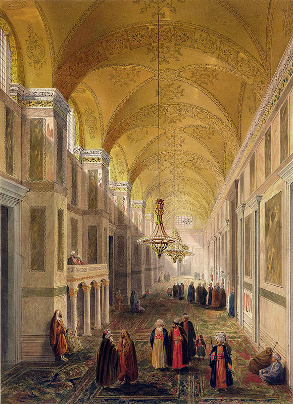 Corridor Poster featuring the drawing Haghia Sophia, Plate 2 The Narthex by Gaspard Fossati