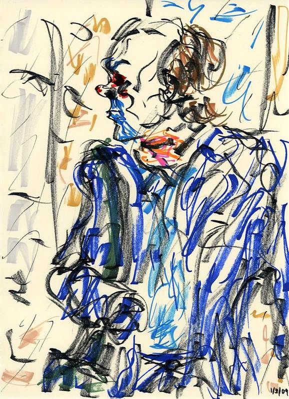 Joker Poster featuring the drawing Joker - Bozo by Rachel Scott