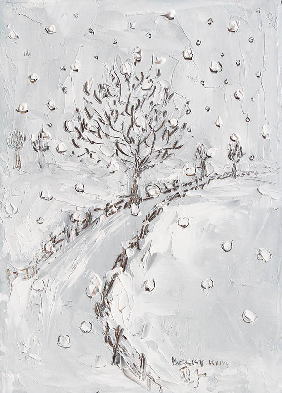 Snow Poster featuring the painting Let It Snow by Becky Kim