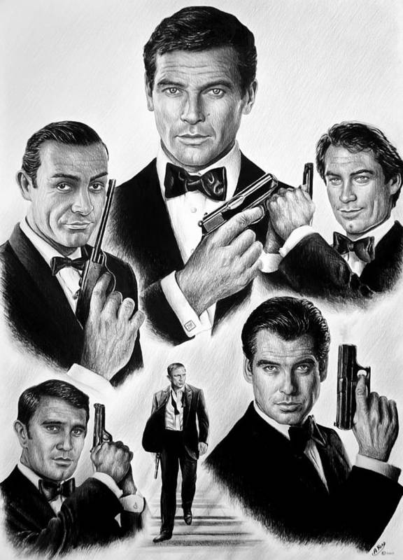James Bond Poster featuring the drawing Licence To Kill Bw by Andrew Read