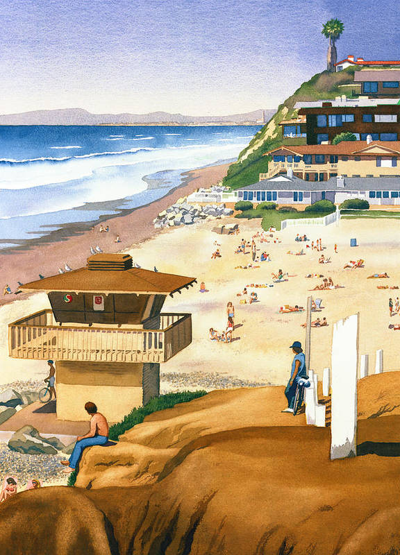 San Diego Poster featuring the painting Lifeguard Station At Moonlight Beach by Mary Helmreich