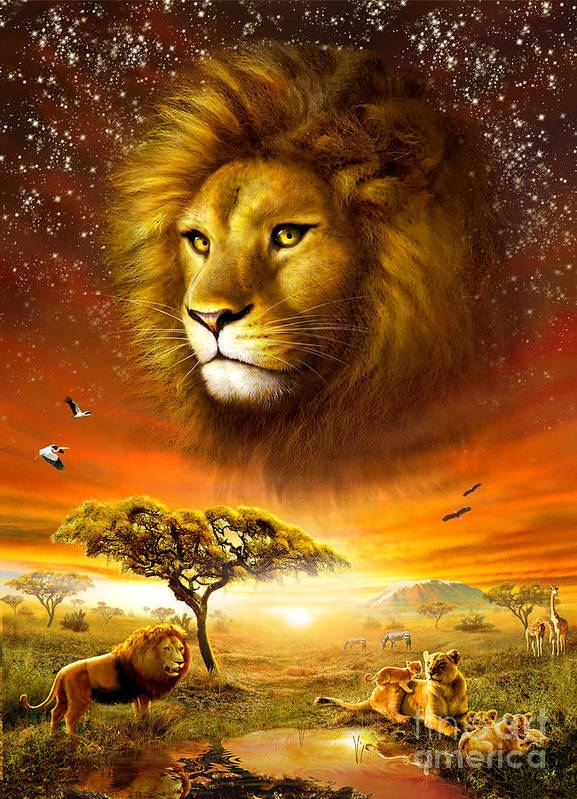Adrian Chesterman Poster featuring the digital art Lion Dawn by Adrian Chesterman