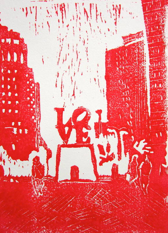 Love Park Poster featuring the painting Love Park In Red by Marita McVeigh
