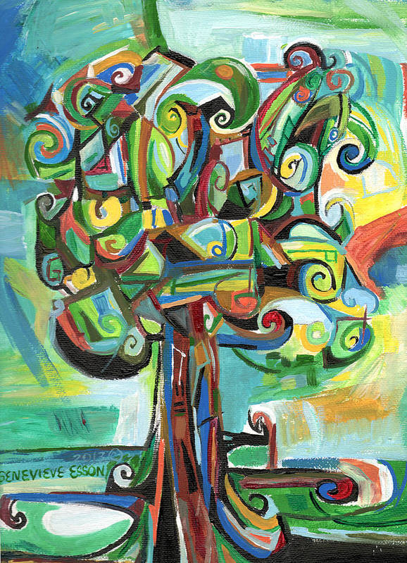 Tree Poster featuring the painting Lyrical Tree by Genevieve Esson