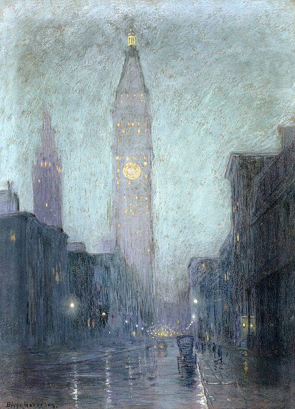 Street Scene Poster featuring the drawing Madison Avenue At Twilight by Lowell Birge Harrison