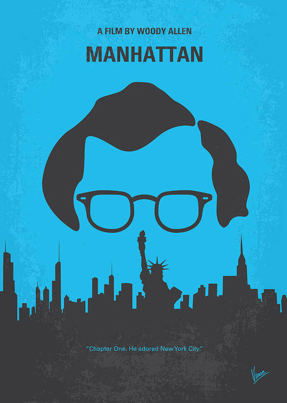 Manhattan Poster featuring the digital art No146 My Manhattan Minimal Movie Poster by Chungkong Art