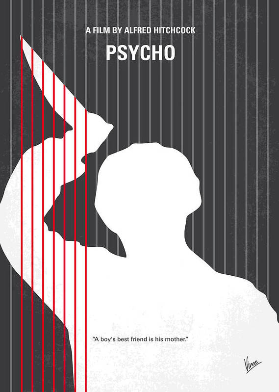 Psycho Poster featuring the digital art No185 My Psycho Minimal Movie Poster by Chungkong Art