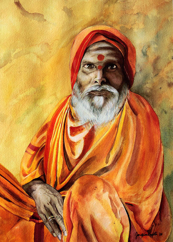 People Poster featuring the painting Sadhu by Janet Pancho Gupta