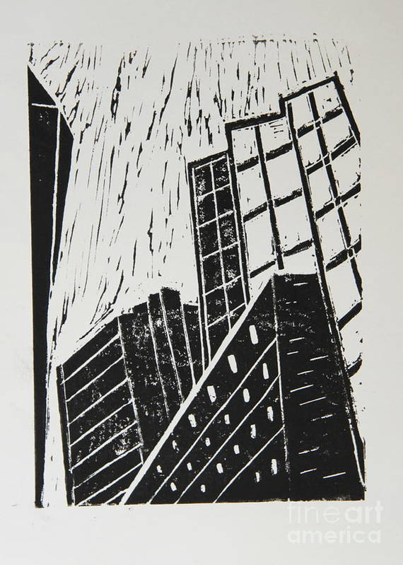 Skyscraper Poster featuring the mixed media Skyscrapers II - Block Print by Christiane Schulze Art And Photography