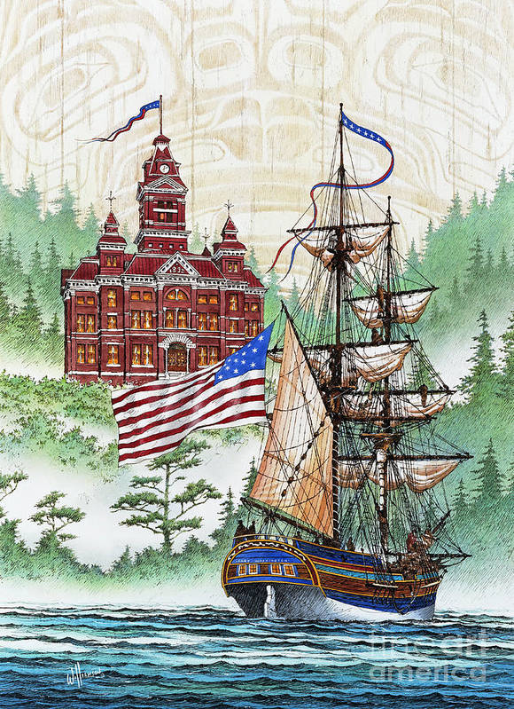 Tall Ship Print Poster featuring the painting Symbols Of Our Heritage by James Williamson