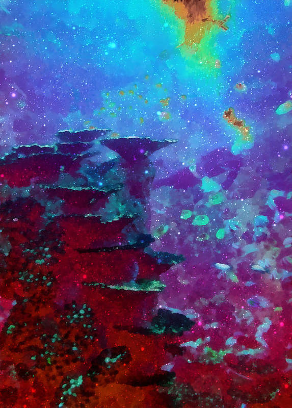 Ocean Poster featuring the digital art The Glimmering Deep by Wendy J St Christopher