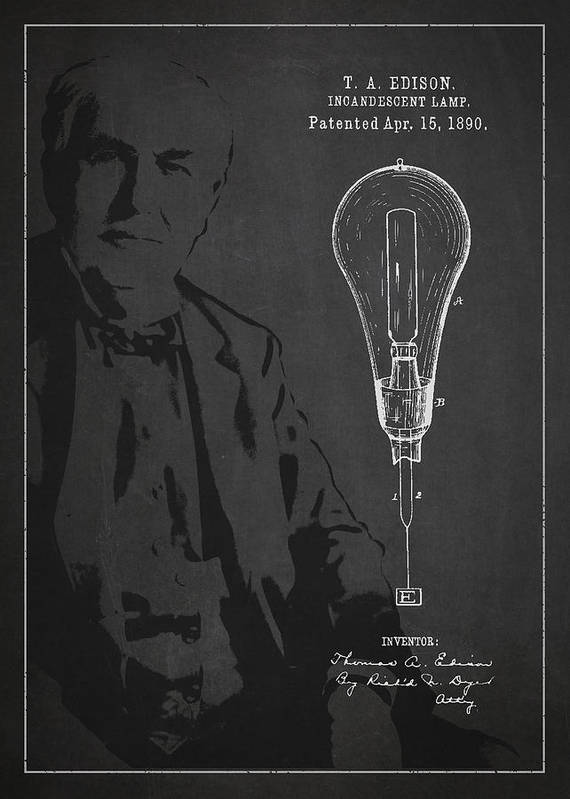 Thomas Edison Poster featuring the drawing Thomas Edison Incandescent Lamp Patent Drawing From 1890 by Aged Pixel