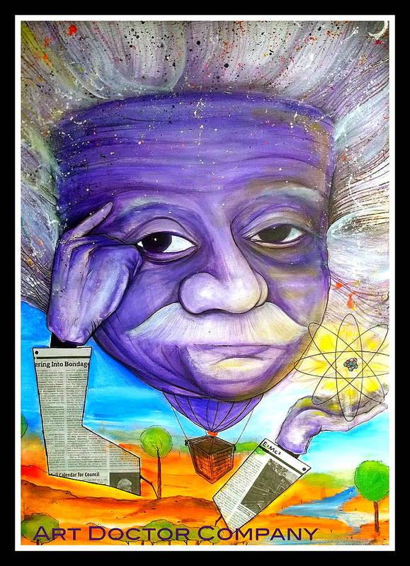 Albert Einstein Poster featuring the painting Albert Thinks by Jose J Montee Montejano