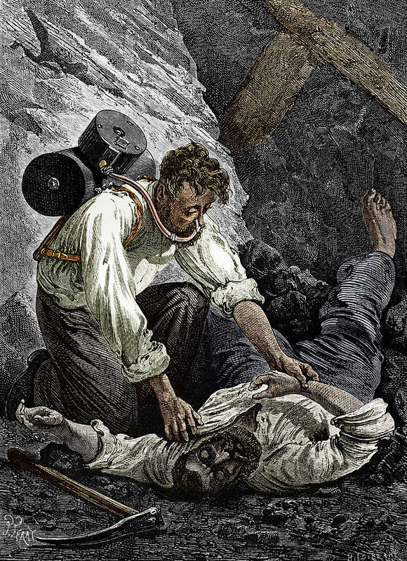 Rouquayrol Poster featuring the photograph Coal Mine Rescue, 19th Century by Sheila Terry