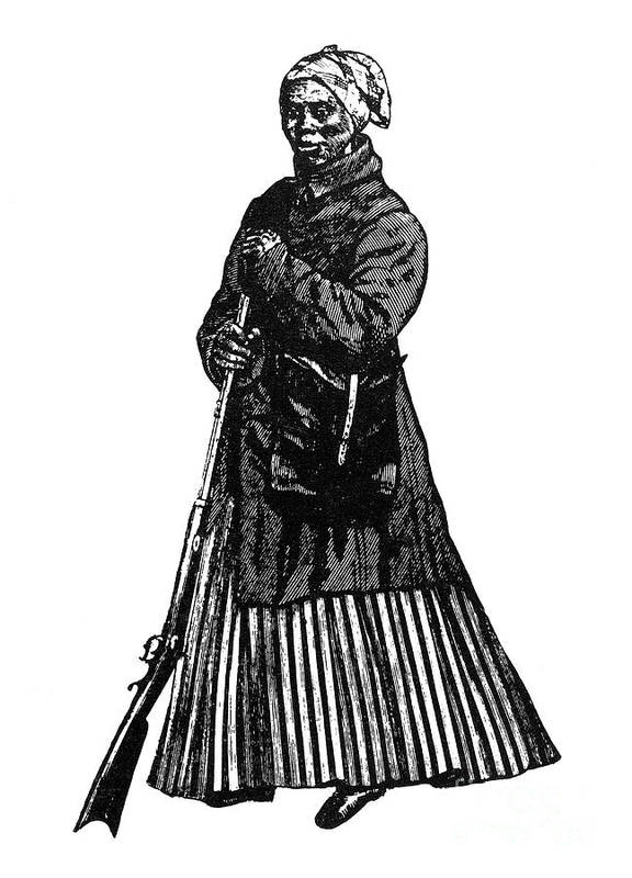 1850s Poster featuring the photograph Harriet Tubman (c1823-1913) by Granger