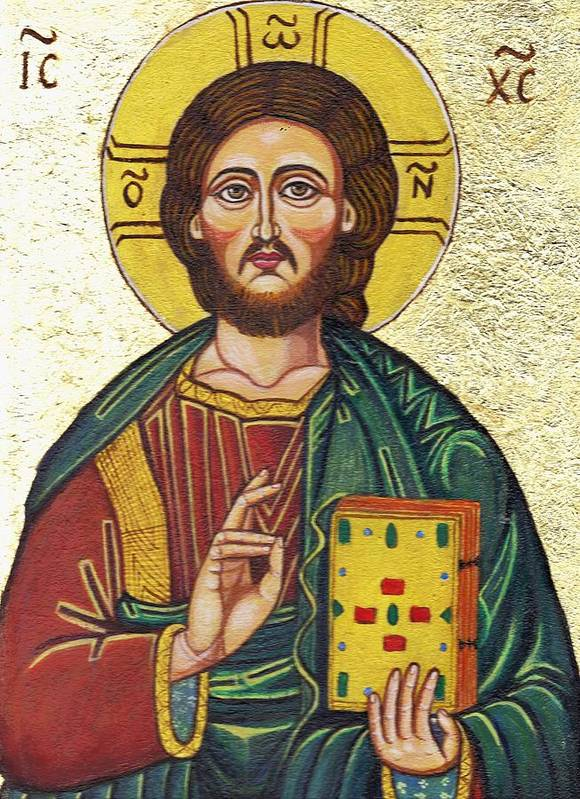 Religion Poster featuring the painting Icon Of Jesus As Christ Pantocrator by Ion vincent DAnu