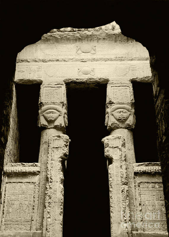 Temple Poster featuring the photograph Temple Of Hathor by Photo Researchers, Inc.
