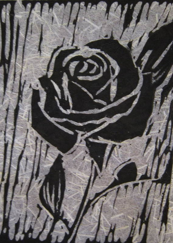 Black Rose Poster featuring the relief The Black Rose by Marita McVeigh