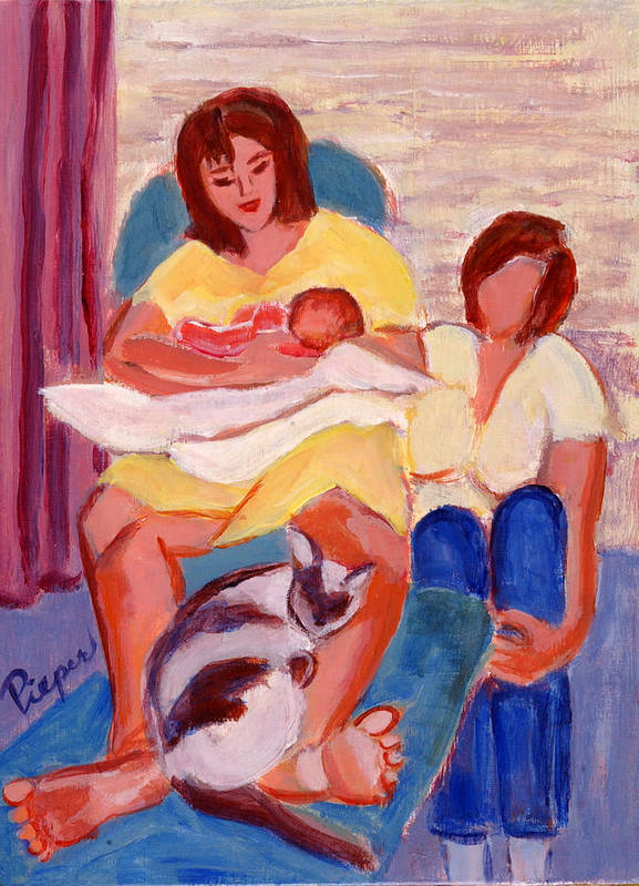 Daughter Poster featuring the painting Three Generations by Elzbieta Zemaitis