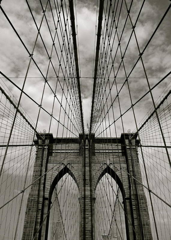 Vertical Poster featuring the photograph Brooklyn Bridge by Adrian Hopkins