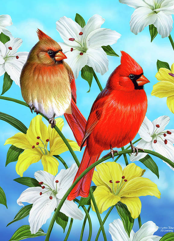 Cardinal Poster featuring the painting Cardinal Day by JQ Licensing