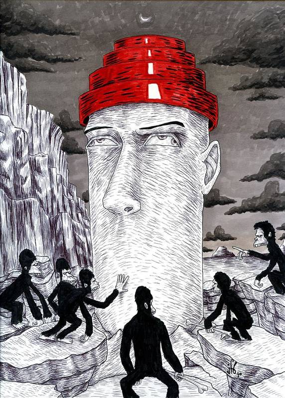 Surreal Poster featuring the drawing Jocko Homo by Jeremy Baum