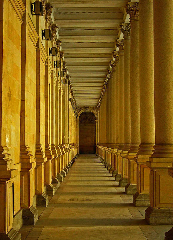 Europe Poster featuring the photograph Karlovy Vary Colonnade by Juergen Weiss