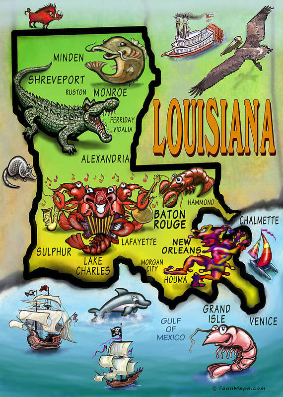 Louisiana Poster featuring the digital art Louisiana Cartoon Map by Kevin Middleton