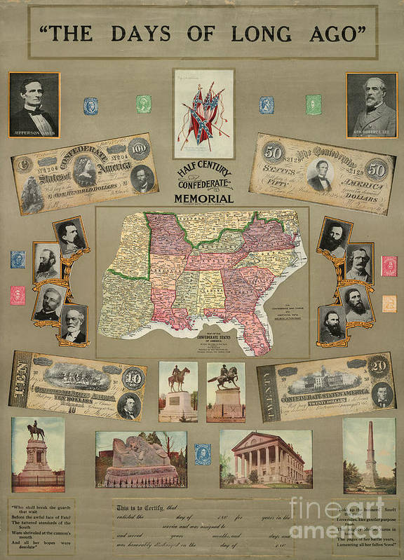 1910 Poster featuring the photograph Map: Confederate States by Granger