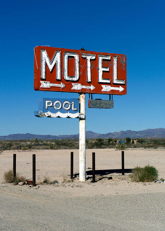 Route 66 Poster featuring the photograph Motel Sign On I-40 And Old Route 66 by Scott Sawyer