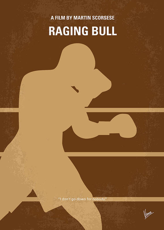Raging Poster featuring the digital art No174 My Raging Bull Minimal Movie Poster by Chungkong Art