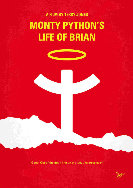 Monty Poster featuring the digital art No182 My Monty Python Life Of Brian Minimal Movie Poster by Chungkong Art