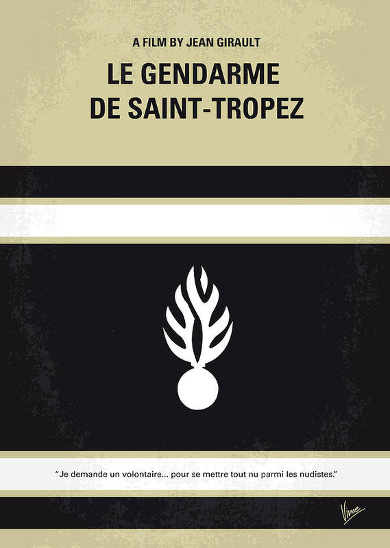 Le Poster featuring the digital art No186 My Le Gendarme De Saint-tropez Minimal Movie Poster by Chungkong Art