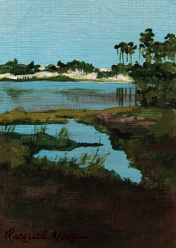 Oyster Lake Poster featuring the painting Oyster Lake by Racquel Morgan