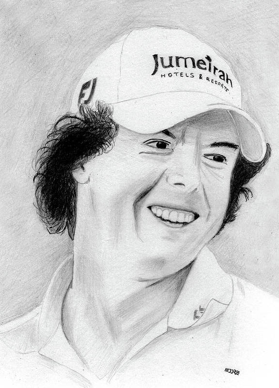 Rory Mcilroy Poster featuring the drawing Rory Mcilroy by Pat Moore