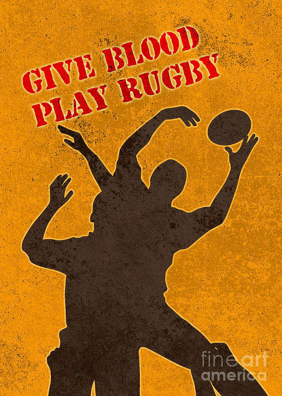 Rugby Poster featuring the digital art Rugby Player Jumping Catching Ball In Lineout by Aloysius Patrimonio