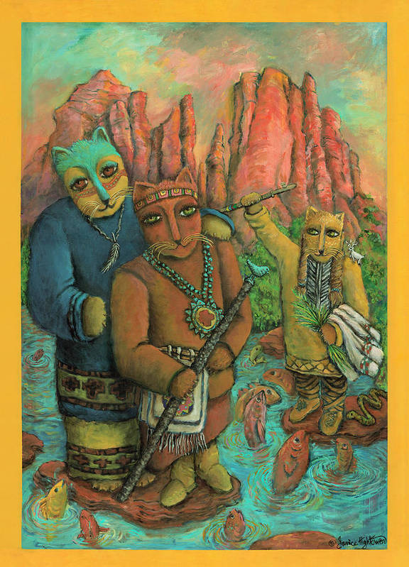 Cats Poster featuring the painting Shamans Of Sedona by Janice Hightower