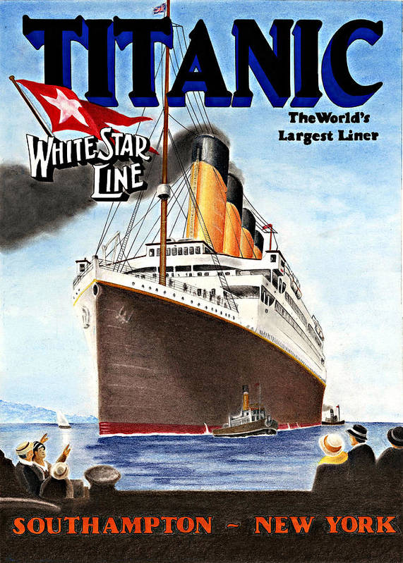 Shipping Poster featuring the drawing Titanic For My Wife by Lyle Brown
