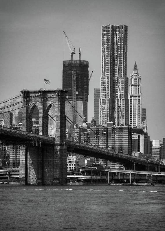 Vertical Poster featuring the photograph View Of One World Trade Center And Brooklyn Bridge by Matt Pasant