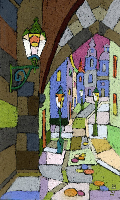 Pastel Poster featuring the painting Prague Old Street Mostecka by Yuriy Shevchuk